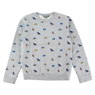 Bonpoint Grey Videogame Print Cotton Sweater