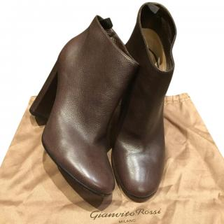 Gianvito Rossi Dark Brown Leather Ankle Boots