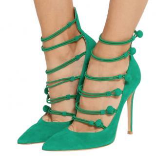 Gianvito Rossi Emerald Green Suede Marquis Sandals