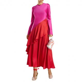 Layeur Pink & Red Draped Asymmetric Top & Skirt