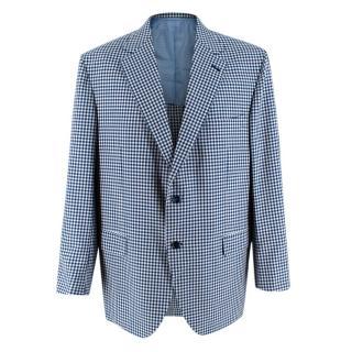 Donato Liguori Blue Checkered Cotton Blend Tailored Blazer Jacket