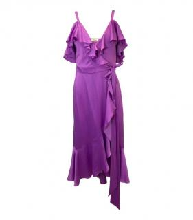 Temperley Purple Silk Ruffled Tie Waist Dress