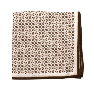 Fiorio Milano Brown and White Printed Pocket Square