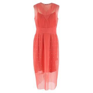 Huishan Zhang Pink Sheer Pearl Embellished Dress