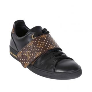 Louis Vuitton Black Lace-Up Studded Front Row Sneakers