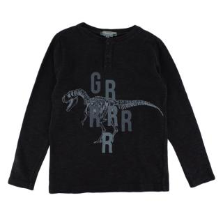 Bonpoint Grey Cotton Dinosaur Buttoned Sweater