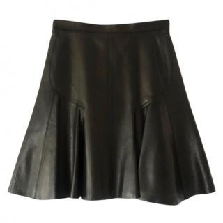 Alaia Black Leather Pleated Skirt