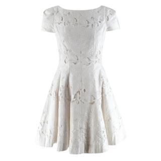 Tibi Ivory Jules Lace Cap Sleeve Mini Dress