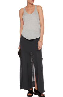 Soyer Black Split Stretch-knit Midi Skirt