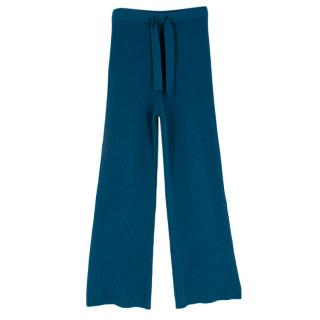 Live The Process Blue Knit Ribbed Trousers