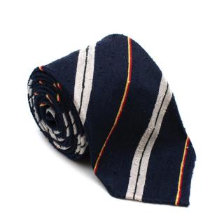 Drake's Navy Striped Handrolled Silk Tie