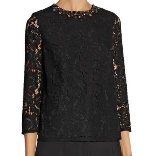 Needle & Thread Giupere Lace Crystal Collar Top