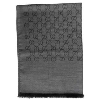 Gucci Monogram Wool & Silk Anthracite Scarf
