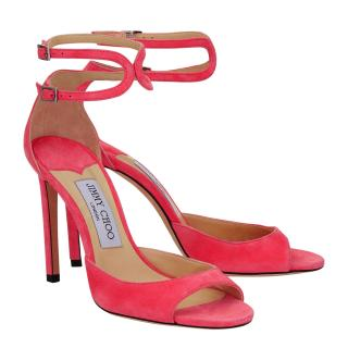 Jimmy Choo Pink Suede Lane Sandals