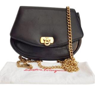 Ferragamo Black Leather Crossbody Bag