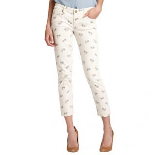 Paige Cream Bicycle Print Kylie Jeans