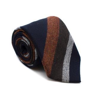 Bigi Wool Navy & Orange Striped Tie
