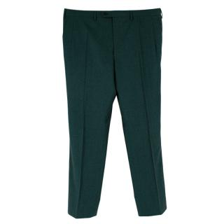 Donato Liguori Green Wool Hand Tailored Trousers