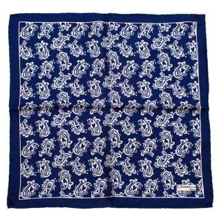 E.Marinella Blue With White Paisley Print Handkerchief