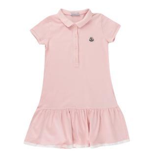 Moncler Pink Polo Style Cotton Dress