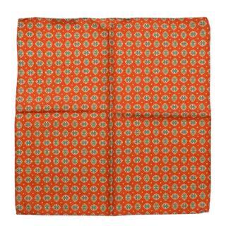 Michele Negri Orange With Green Pattern Handkerchief