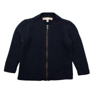 Bonpoint Navy Wool Zipped Cardigan