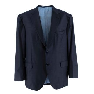 Donato Liguori Navy Wool Blend Checkered Tailored Single Breast