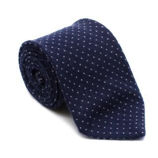 E. Marinella Blue Dotted Cashmere Tie