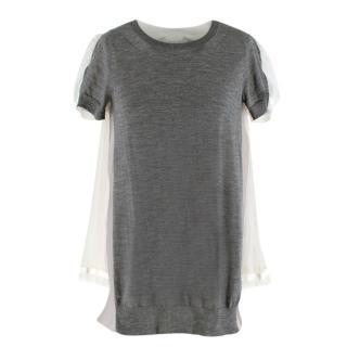 Sacai Grey Knit & White Organza Pleat Top