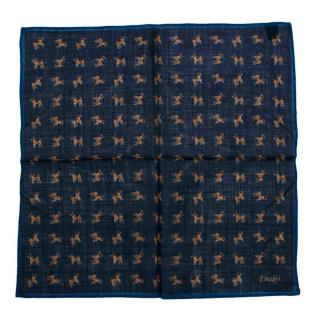 Drakes Navy Dog Pattern Handkerchief