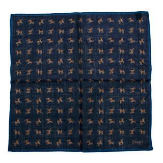 Drakes Navy Dog Pattern Handkerchief