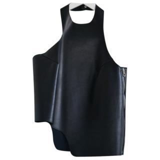 Balenciaga Black Leather Halterneck Top