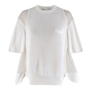 Sacai Ivory Knit & Muslin Short Sleeve Top