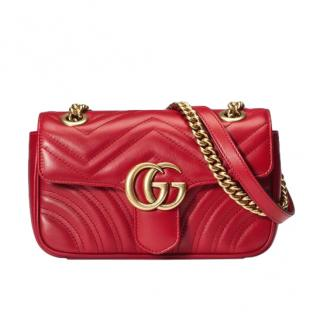 Gucci Marmont Red Mini Matelasse Shoulder Bag
