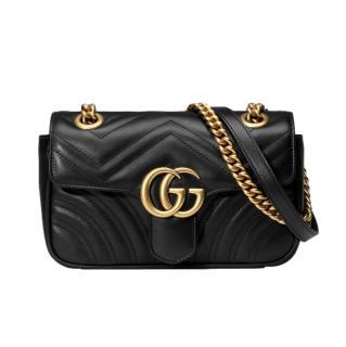Gucci Marmont Black Mini Matelasse Shoulder Bag
