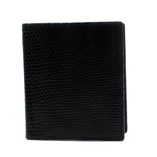 Swaine Adeney Brigg Black Lizard Embossed Leather Card Holder