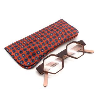 Michel Henau Hexagono B79S Opticals with E. Marinella Silk Case