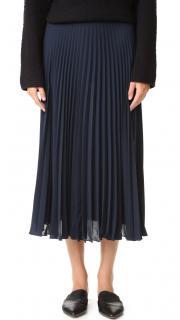 Vince Navy Sheer Pleated Midi Skirt