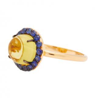 Rosa Del A Cruz Lemon Quartz & Sapphire Ring