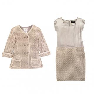 Chanel Beige Lesage Tweed & Silk Jacket & Dress