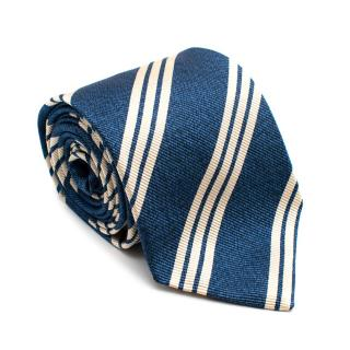 Drakes Blue & White Striped Tie
