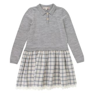 Bonpoint Grey Knit & Check Pattern Dress