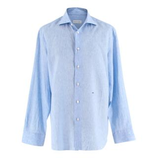 Donato Liguori Blue Linen Long Sleeve Hand Tailored Shirt