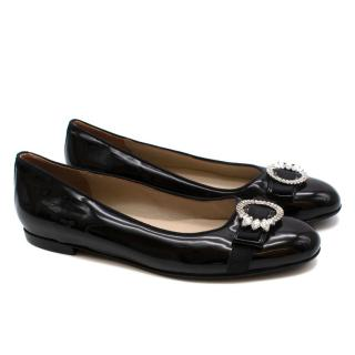 Loschina Black Patent Leather Crystal Embellished Ballerinas