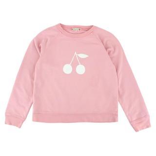 Bonpoint Pink Cotton Cherry Logo Sweater