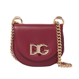 Dolce & Gabbana Burgundy Grained Leather Wifi Crossbody Bag