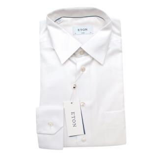 Eton White Cotton Classic Fit Long Sleeve Shirt