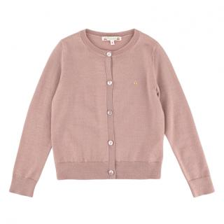 Bonpoint Pink Button-Down Cardigan