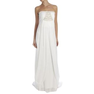 Temperley Ivory Silk Strapless Gown