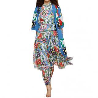 Chanel Paris/Dubai Blue Floral Intarsia Cashmere Longline Cardigan